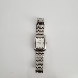Fossil watch rectangular white faced silver